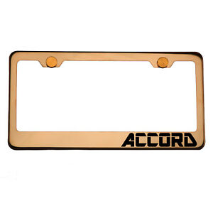 Rose Gold License Plate Frame Accord Laser Engraved Aluminum Screw Cap