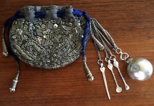 Rare Late 1800 S Opium Pouch Bag Tools Metallic Embroidered Turkish Ottoman