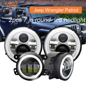 Led Halo Headlights Fog Light Drl Combo Kit For Jeep Wrangler Patriot 2007 2017