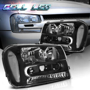 For 02 09 Chevy Trailblazer Black Headlights Headlamps Front Driving Lamps Lh Rh