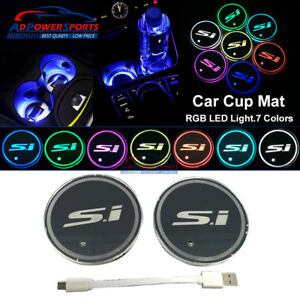 2x Car Cup Holder Bottom Pad Led Light Cover Atmosphere Lamp Lights Si Logo