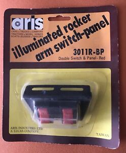 Aris 3011r bp Double Switch And Panel Red Illuminated Rocker Switch Nos
