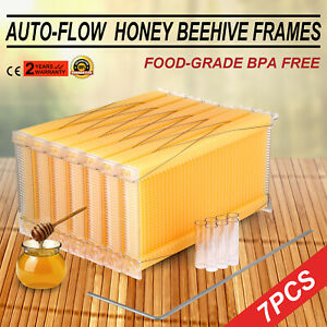 7pcs Automatic Flowing Raw Frame Honey Beekeeping Beehive Hive Frames Harvesting