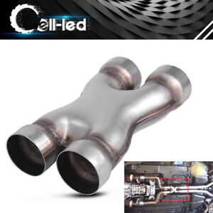 Car Truck Dual 3 Inlet Outlet X Pipe Cross Exhaust Tip Welded Stainless Steel