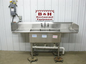 Spg 72 X 24 Stainless Steel Heavy Duty Three Bowl 3 Compartment Sink 6 X 2