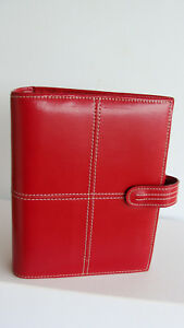 Compact 1 25 Rings Red Genuine Leather Franklin Covey Planner binder Snap good