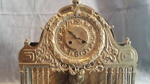 1850 1870 French Unusual Bronze And Marble Mantel Clock Second Empire