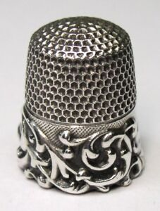 Antique Ketcham Mcdougall Sterling Silver Thimble Scrolled Tendrils C 1890s