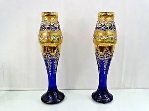 Giant Antique Bohemian Moser Glass Vases Enamel Cobalt Blue Gold Islamic Market