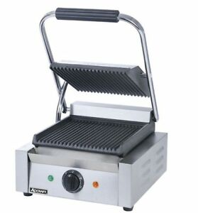Commercial Kitchen Countertop Single Grooved Panini Sandwich Grill 12