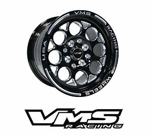 X2 Vms Racing Modulo 13x8 Black Silver Drag Rims Wheels For 88 91 Honda Civic Ef