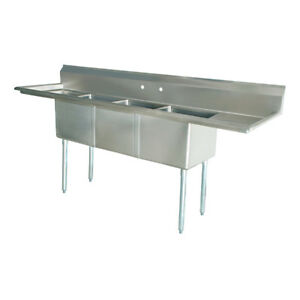 Stainless Steel 3 Compartment Sink 90 X 24 With 2 18 Drainboards