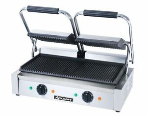 Commercial Kitchen Countertop Double Ribbed Panini Sandwich Grill 21