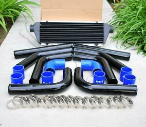8 Pieces 2 5 Black Piping Blue Silicone Coupler T blot Clamp Intercooler Kit