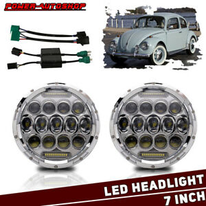 Pair Vw Beetle Classic Headlights 7 Chrome Led Headlamp Upgrade 9007 H4 Adapter
