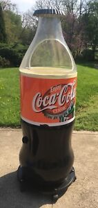 Vtg Coca Cola Large Contour Bottle Store Display Cooler Ice Chest On Wheels