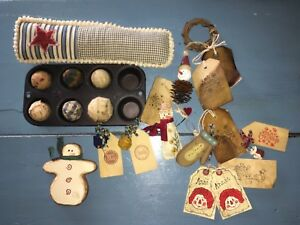 Primitive Country Lot Kitchen Hanging Ornaments Tree Decor Muffin Star Wreath