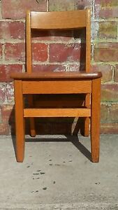 Vintage Solid Oak Childs Primary School Classroom Library Chair 14 Seat