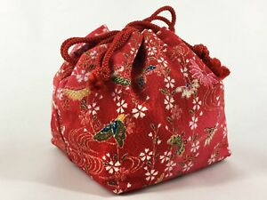 Vintage Japanese Kinchaku Draw String Bag In Red Rayon Chirimen Fabric May18a
