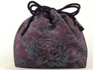 Vintage Japanese Kinchaku Draw String Bag In Woven Purple Silk Fabric May18b