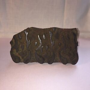 Antique Wood Hand Carved Textile Printing Fabric Block Stamp Primitive