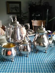 4pc Antique Sheridan Silver Plated Coffee Tea Set Coffee Tea Sugar Cream