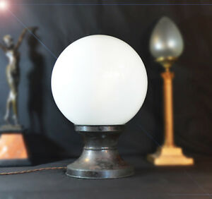 Very Rare Early 1930s Large Bronze Opaline Industrial Factory Office Desk Lamp