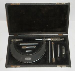 Central Tool Company micrometer 0 4 In Original Case W 8 Pieces Vintage
