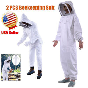 2x Thickened Beekeeping Coverall Suit Veil Bee Keeping Hat Pull Over Full Body
