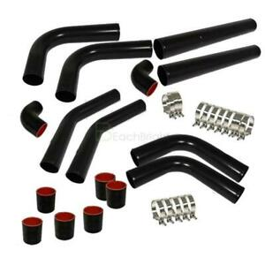 Universal 2 5 Inch Diy Aluminum 8pcs Turbo Intercooler Piping Pipe Kit Black