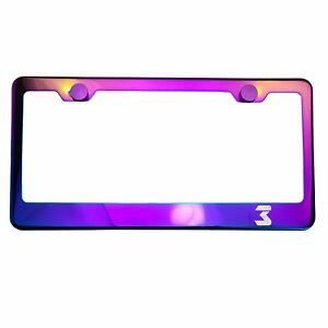 Polish Neo Neon Chrome License Plate Frame 3 Laser Etched Metal Screw Cap