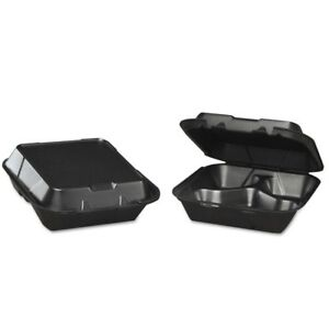 Genpak Snap it Foam Hinged Carryout Container 3 compartment Black 8 1 4x8x3