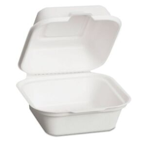 Genpak Harvest Fiber Hinged Containers 5 7w X 5 7d X 3h Plastic White