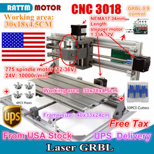 us Stock 3 Axis Diy Mini Cnc 3018 Grbl Control Laser Machine Pcb Wood Router