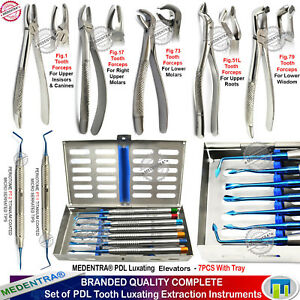 Dental Elevators Root Extraction Tooth Loosening Periotome Surgical Forceps Kit
