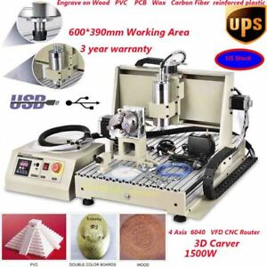 Usb Engraving Drilling 4axis Cnc Router 6040 Engraver Mill Mach 3d Cutter 1 5kw