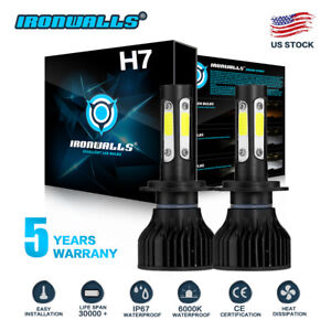 Cree H7 2000w 300000lm 4 Sides Led Headlight Kit High Or Lo Light Bulb 6000k Car