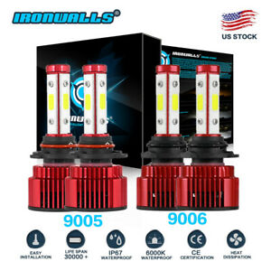 9005 9006 6000k 3600w 540000lm Combo 4 sides Led Headlight Kit Hi lo Light Bulbs