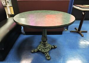 Green Round Top Restaurant Table With Vintage Cast Iron Base 36 Diameter