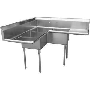 Stainless Steel 3 Compartment Sink 57 X 57 With 2 18 Drainboards