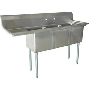 Stainless Steel 3 Compartment Sink 74 5 X 24 With 18 Left Drainboard