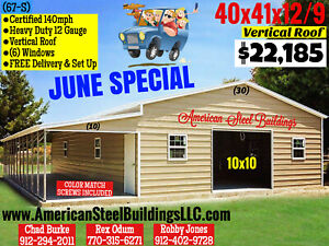 24x36x9 Vertical Metal Building Free Delivery Set Up 12 Gage Certified 140 Mph
