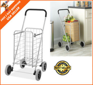 Durable Shopping Cart Collapsible Folding Rolling Heavy Duty For Grocery Laundry