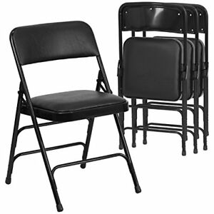 4 Folding Chairs Hinged Fabric Padded Metal Upholstery Steel Frame Black New