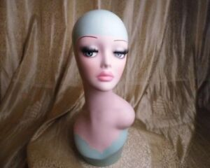 Blue Retro Fiberglass Hand Painted Female Mannequin Head For Wig Jewelry Display