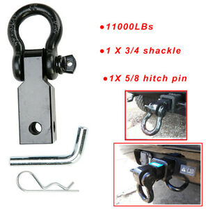 2 Trailer Shackle Hitch Receiver 3 4 D ring Tow Hook Winch Receiver