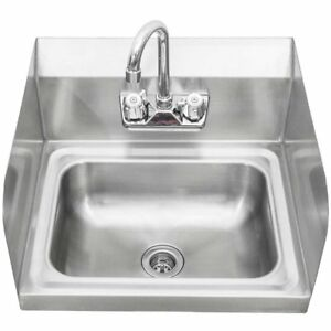 Stainless Steel Wall mount Hand Sink With Faucet Drain Side Splashes