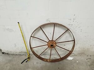 Antquie Cast Iron Wagon Wheel 10 Spoke 31 3 Wd