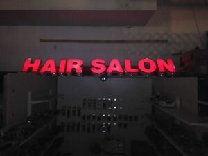 12 Red Neon Channel Letters Outdoor Commercial Hair Salon Sign 18 Letters