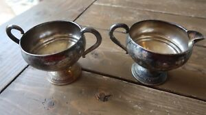 Antique Sterling Silver Weighted Sugar Bowl And Creamer 3 5